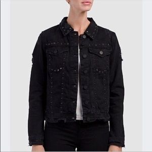 Blank NYC Black Studded Distressed denim Jacket L